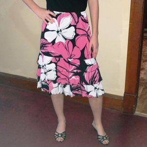 Cato Flowery Ruffle Skirt